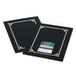 Geographics Gold Foil Stamped Certificate/Document Covers, 80 lb. Linen Stock, Black, 6/Pack