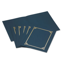 Geographics Gold Foil Stamped Certificate/Document Covers, 80 lb. Linen Stock, Blue, 6/Pack