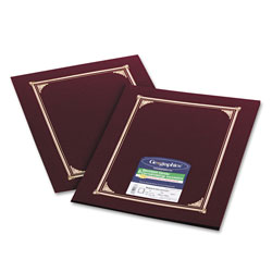 Geographics Gold Foil Stamped Certificate/Document Covers, 80 lb. Linen, Burgundy, 6/Pack