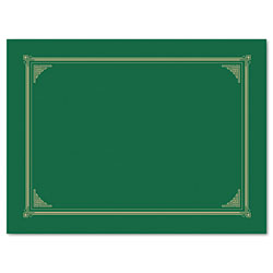 "Geographics Certificate Document Cover, 12 1/2"" x 9-3/4"", Green"
