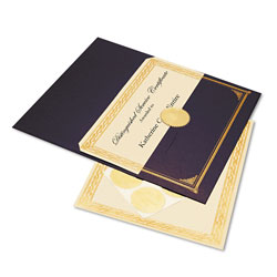 Geographics Ivory/Gold Foil Embossed Award Cert. Kit, Blue Metallic Cover, 8-1/2 x 11