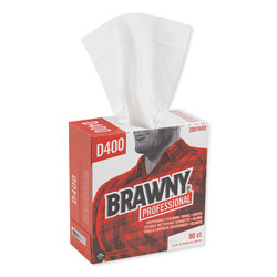 Brawny Medium Duty Cleaning Wipes, White, Box of 90