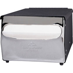 Georgia Pacific 51202 MorNap Black Chrome Cafeteria Model Napkin Dispenser