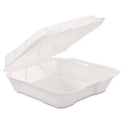 GEN Foam Hinged-Lid Container, 1-Comp, White, 9 1/4 x 9 1/4 x 3, 200/Carton