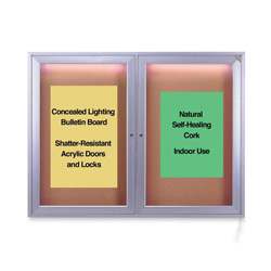 Ghent MFG 1-Door Cork Surface Bulletin Board with Concealed Light, 4'x5'