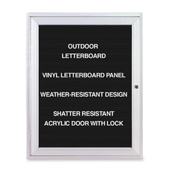 Ghent MFG Changeable Enclosed Letterboard with 1 Door and Aluminum Fram, 3' x 2'