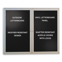 Ghent MFG Changeable Enclosed Letterboard with 2 Door and Aluminum Fram, 4' x 3'