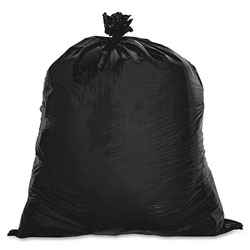 Genuine Joe Black Flat-Bottom Trash Bags, 45 Gallon, Case of 250