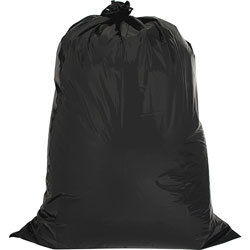 "Genuine Joe Black twist ties Trash Bags, 42 Gallon, 2.5 Mil, 33"" x 48"", Box of 20"