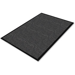 Genuine Joe Vinyl Backed Vinyl Floor Mat, 3' x 5', Charcoal