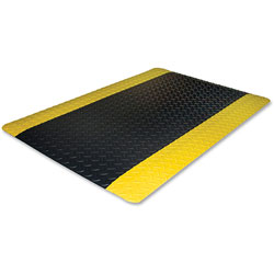 Genuine Joe Beveled Edge Anti-Fatigue Mat, 2' x 3', Black & Yellow