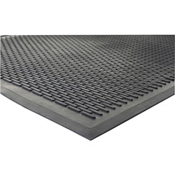 Genuine Joe Super Tread Rubber Floor Mat, 3' x 5', Black
