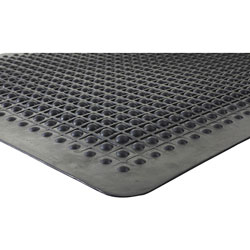 Genuine Joe Beveled Edge Anti-Fatigue Mat, 3' x 5', Black