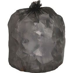 "Genuine Joe Black Flat-Bottom Trash Bags, 33 Gallon, 0.45 Mil, 33"" X 39"", Case of 250"