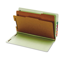 Pendaflex Pressboard End Tab Classification Folders, 6 Sections, Legal, Green, 10/Box