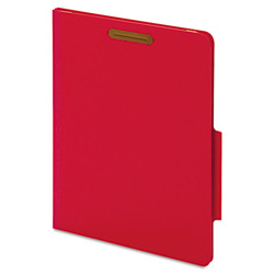 "Cardinal 40 Pt. Classification Folders, 2"" Fasteners, 2/5 Tab, Letter, Red, 10/BX"