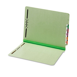 "TOPS End Tab Pressboard Folders, 2 Fasteners, 2"" Expansion, Letter, Green, 25/Box"