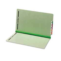 "TOPS End Tab Pressboard Folders, 2 Fasteners, 1"" Expansion, Legal, Green, 25/Box"