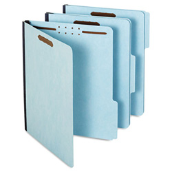 "Pendaflex Pressboard Folders, 2"" Expansion, 2 Fastener, 1/3 Cut, Ltr, Light Blue, 25/Box"