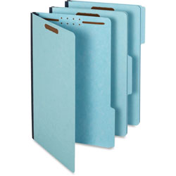 TOPS File Folders, 1/3 Cut Tab, 2 Fasteners, Legal, 25/BX, Blue