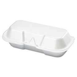 Genpak Hot Dog Foam Hinged Container, White, Case of 4