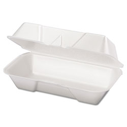 Genpak Hogie Foam Hinged Container, White, Case of 4