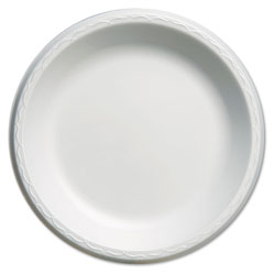 "Genpak Elite Laminated Foam Plates, 10 1/4"" Dia, White, Round, 125/Pack, 4 Pack/Carton"