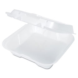 Genpak 1 Compartment Foam Hinged Container, White, Case of 2