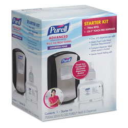 Purell LTX-7 Advanced Instant Hand Sanitizer Kit, 700mL, Touch-Free, Chrome/Black, 4/CT