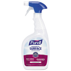 Purell Foodservice Surface Sanitizer, Fragrance Free, 32 oz Spray Bottle, 12/Carton