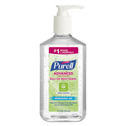 Purell Advanced Green Certified Instant Hand Sanitizer Gel, 12 oz Pump Bottle, Clear
