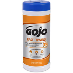 Gojo Fast Towels, Hand/Surface Cleaner, 25 Wipes, White
