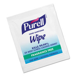 Purell Premoistened Sanitizing Hand Wipes, Individually Wrapped, 5 x 7, 1000/Carton