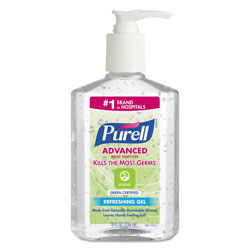 Purell Advanced Green Certified Instant Hand Sanitizer Gel, 8oz Pump Bottle, Clear