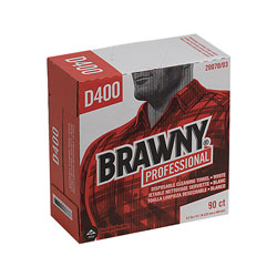 Brawny Professional D400 Disposable Cleaning Towel, Tall Box, 9 1/4 x 16 3/8, White, 90 Wipes/BX, 10 BX/CT