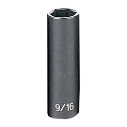 "Grey Pneumatic 3/8"" Drive Deep Fractional Impact Socket - 9/16"""