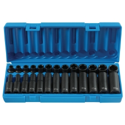 "Grey Pneumatic 26 Piece 3/8"" Drive 6 Point Standard and Deep Metric Impact Socket Set"