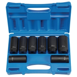 "Grey Pneumatic 8 Piece 1/2"" Drive 12 Point Spindle/Axle Nut Socket Set"