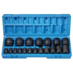 "Grey Pneumatic 19 Piece 1/2"" Drive 12 Point Fractional Impact Socket Set"