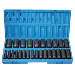 "Grey Pneumatic 26 Piece 1/2"" Drive 12 Point Deep Length Metric Impact Socket Set"