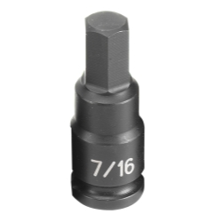 "Grey Pneumatic 3/8"" Drive Fractional Hex Driver Impact Socket - 7/16"""