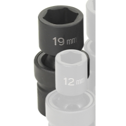 "Grey Pneumatic 1/2"" Drive Metric Universal Impact Socket - 19mm"