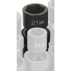 "Grey Pneumatic 1/2"" Drive Metric Universal Impact Socket - 21mm"