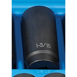"Grey Pneumatic 1/2"" Drive 12 Point Deep Fractional Impact Socket - 1-3/16"""