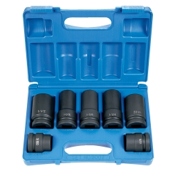 "Grey Pneumatic 7 Piece 1"" Drive 4 and 6 Point Wheel Service Impact Socket Set"