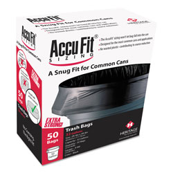 Heritage Bag Accufit Black Trash Bags, 55 Gallon, 0.9 Mil, Box of 50