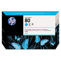 HP 80 Cyan Ink Cartridge ,Model C4872A ,Page Yield 2200