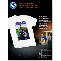 HP Iron On Transfers for White and Light Color Fabrics, 8 1/2 x 11, 12 Sheets/Pack