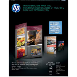 HP Tri Fold Brochure Paper, Glossy, 8 1/2 x 11, 100 Sheets/Pack