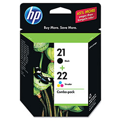 HP 21 Black and Cyan/Magenta/Yellow Ink Cartridge, Model C9509FN, Page Yield 190